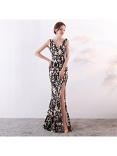 Chic Printed Sequined Fitted Boutique Evening Dress