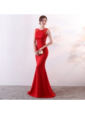 Elegant Solid Fitted Evening Dress For Female