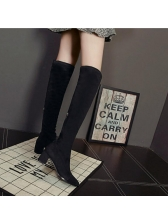 New Arrival Lace Patchwork Black Knee Boots