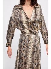 New Arrival Snake Print V Neck Women Dress