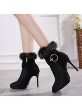 Winter Fur Pointed Heel Ankle Boots For Women
