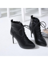 New Arrival Lace Up Pointed Black Heel Boots