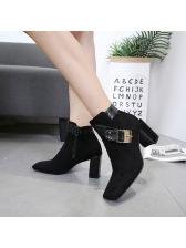 Simple Design Square Toe Black Ankle Boots