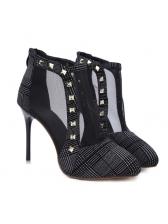 Autumn Rivet Plaid Black Heel Ankle Boots