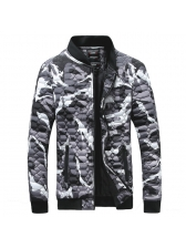 Casual Camouflage Stand Collar Zipper Coats