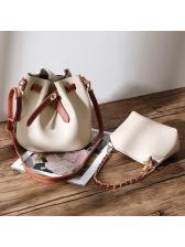 Versatile PU Bucket Shoulder Bags With Little Bags