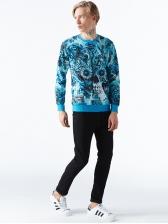 Fashion Skull Printing Long Sleeves Crew Neck Sweatshirt