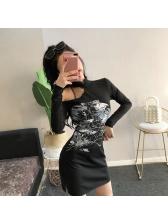 Korean Off Shoulder Printed Split Hem Short Dress
