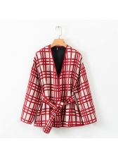 Fashion Plaid Tie-Wrap Loose Short Coat