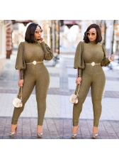 Sexy Lantern Sleeve Fitted Solid Jumpsuit