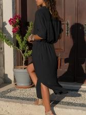 Solid Button Up Long Sleeve Shirt Dress
