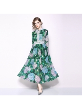Euro Floral Patchwork Fitted Lace Maxi Dress