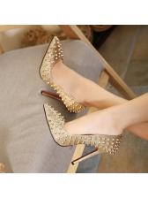 Stylish Rivet Pointed Toe Thin Heel Pumps