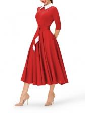 Graceful Turndown Collar Contrast Color Dresses