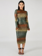 Fashion Striped Gradient Long Sleeves Dress