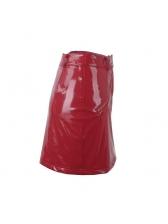 Fashion Solid Sexy High Waist PU Skirt