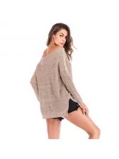 Fashion Off Shoulder Split Hem Solid Pullover