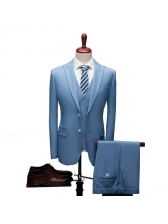 Korean Design Solid Fitted Long Sleeves Men Suits