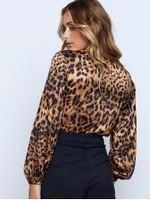 Autumn Leopard Plunging V-Neck Sexy Bodysuit