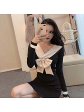 Korean Long Sleeve Colorblock Bow Fitted Dress