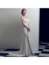 Sexy V Neck Backless Split Hem Evening Dress