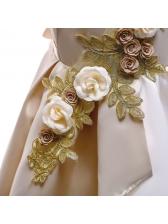 Stereo Flower Patchwork Flower Girls Dress