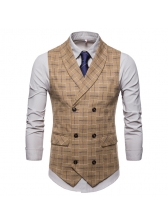 Suitable Plaid Double-breasted Lapel Waistcoat