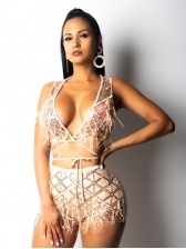 Low-Cut Hollow Out Tassel Sequined 2 Piece Sets