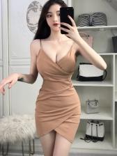 New Arrival Solid Irregular Hem Sexy Dress