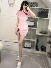 New Arrival Puff Sleeves Slit Cheongsam Dress