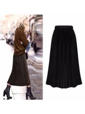 Fashion Pleated Elastic High Waist Skirts