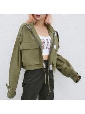 Fashion Stand Neck Zipper Pocket Green Jackets