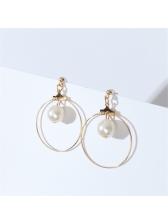 Simple Design Faux Pearl Geometric Street Earrings