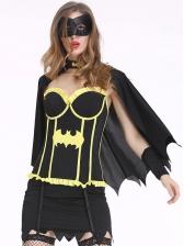 Halloween Color Block Cosplay Batman Suit For Women
