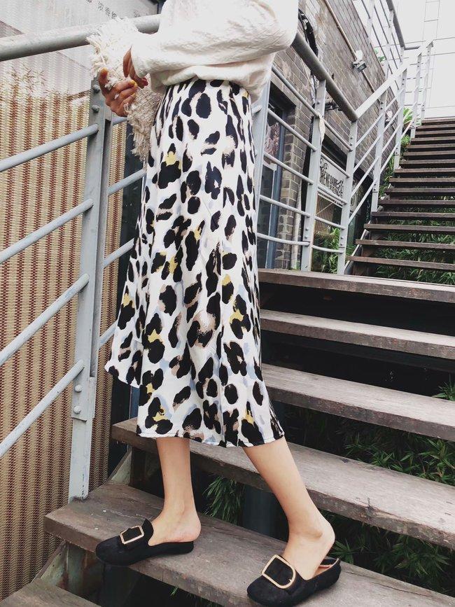 Holiday Leopard Print A-Lined Ruffles Midi Skirt