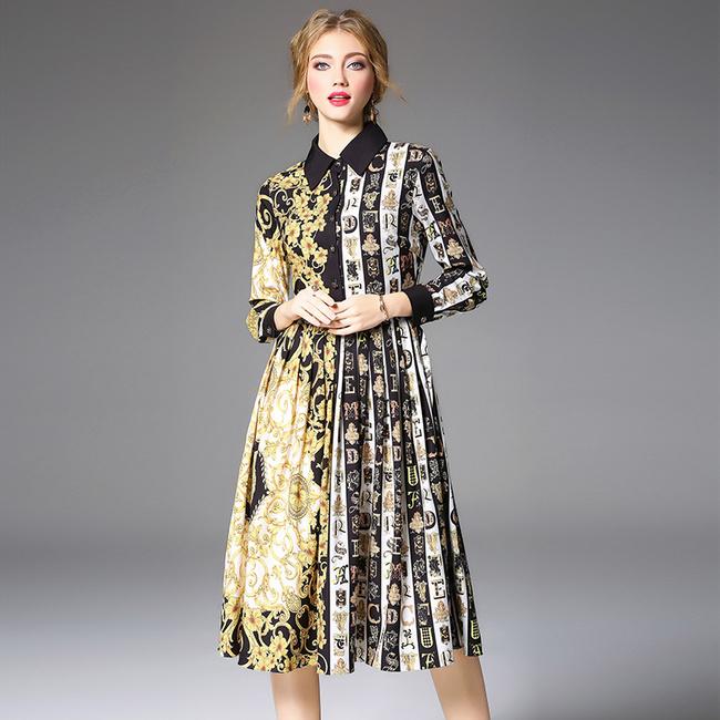 Vintage Printed Single-breasted Turndown Collar Pleated Dresses