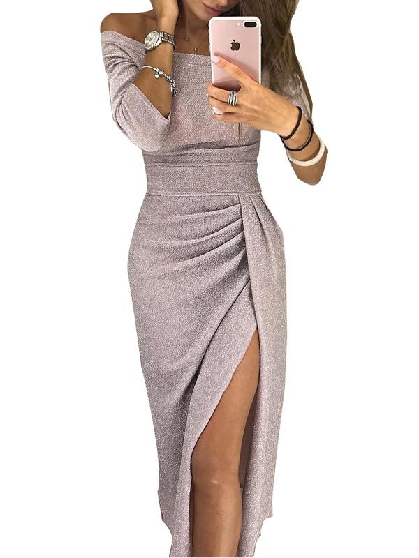 Irregular Off Shoulder Solid Long Sleeve Slit Dress