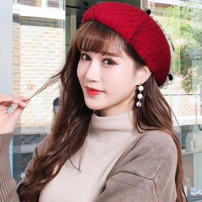 Vintage Solid Easy Matching Patchwork Women Beret Hat