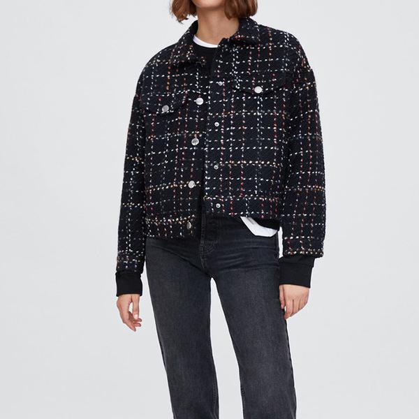 Turndown Neck Plaid Woolen Coat For Women