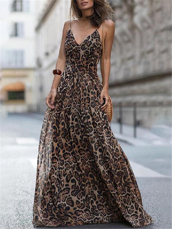 Fashion V Neck Leopard Spaghetti Maxi Dresses