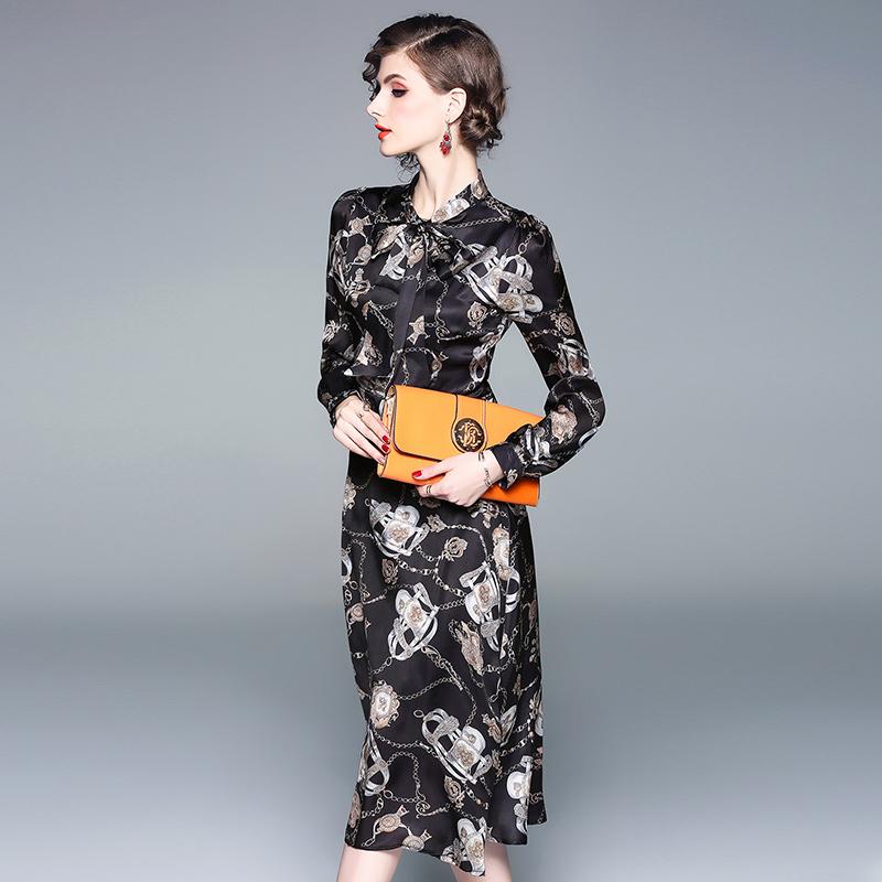 Vintage Style Printed Tie-wrap Long Sleeve Dress