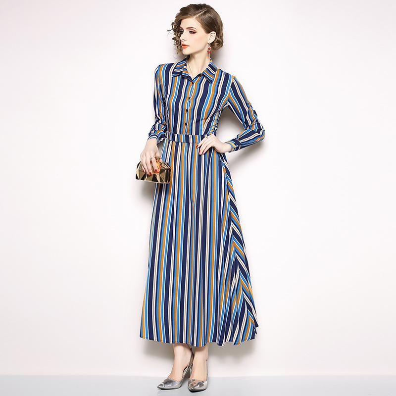 Fashion Turndown Neck Striped Shirt Dress