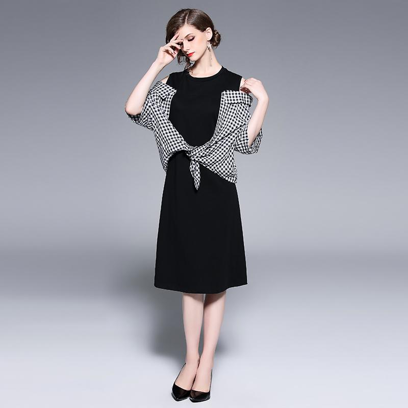 Plaid Patchwork Off Shoulder Black Dress