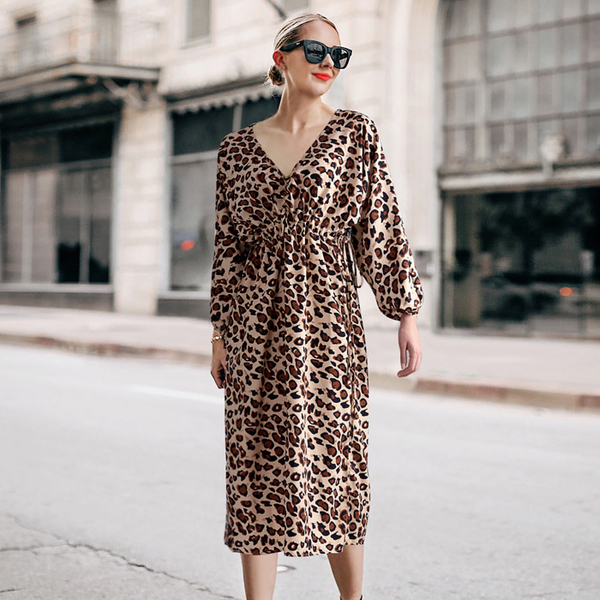 Fashion Leopard Print V Neck Tie-wrap Dresses