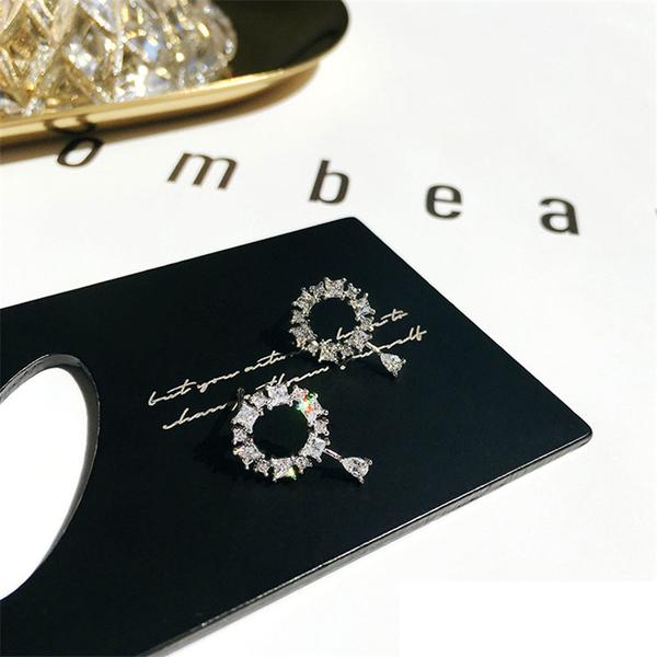 Stylish Round Rhinestone Silvery Women Earrings