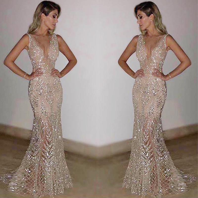 Sequined V Neck Silvery Floor Length Dresses
