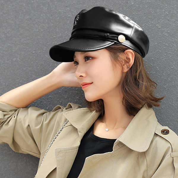 Korean Design Solid PU Fashion Hat Unisex