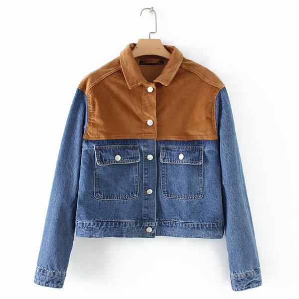 Chic Spread Neck Corduroy Patchwork Denim Jacket