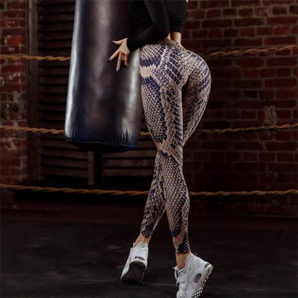 Sexy Snake Print Skinny Female Yoga Pants