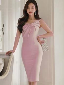 Korean Inclined Shoulder Bodycon Dresses